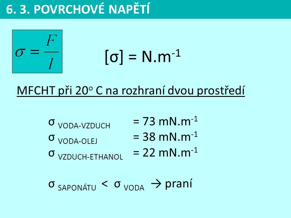6. 3. POVRCHOVÉ NAPĚTÍ [σ] = N.m-1